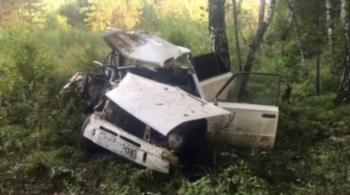 Два человека пострадали в ДТП в Иркутской области после столкновения ВАЗа с деревом